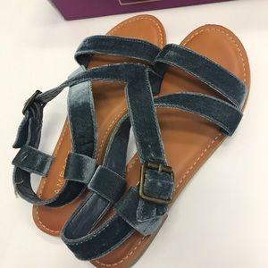 Blue Velvet Sandals